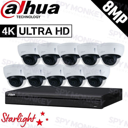 Dahua 16-Channel Security Kit: 8MP (Ultra HD) NVR, 10 x 8MP Fixed Dome, Lite + Starlight