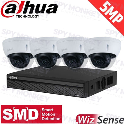 Dahua 4-Channel Security Kit: 8MP (Ultra HD) NVR, 4 X 5MP Fixed Dome, WizSense + Starlight