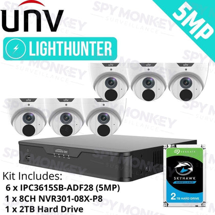 Uniview 8 Channel Security System: 4K NVR, 6 x 5MP LightHunter Turret Cameras, 2TB HDD