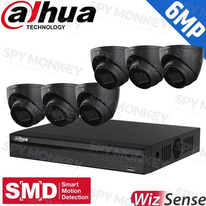 Dahua 8-Channel Security Kit: 8MP (Ultra HD) NVR, 6 x 6MP Fixed Turrets (Black), WizSense + Starlight