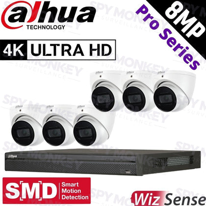 Dahua 8-Channel Security Kit: 12MP Pro Series NVR, 6 X 8MP Turret, WizSense + Starlight