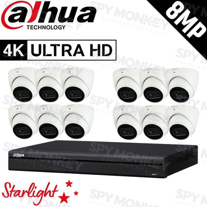 Dahua 16-Channel Security Kit: 8MP (Ultra HD) NVR, 12 x 8MP Fixed Turret, Lite + Starlight