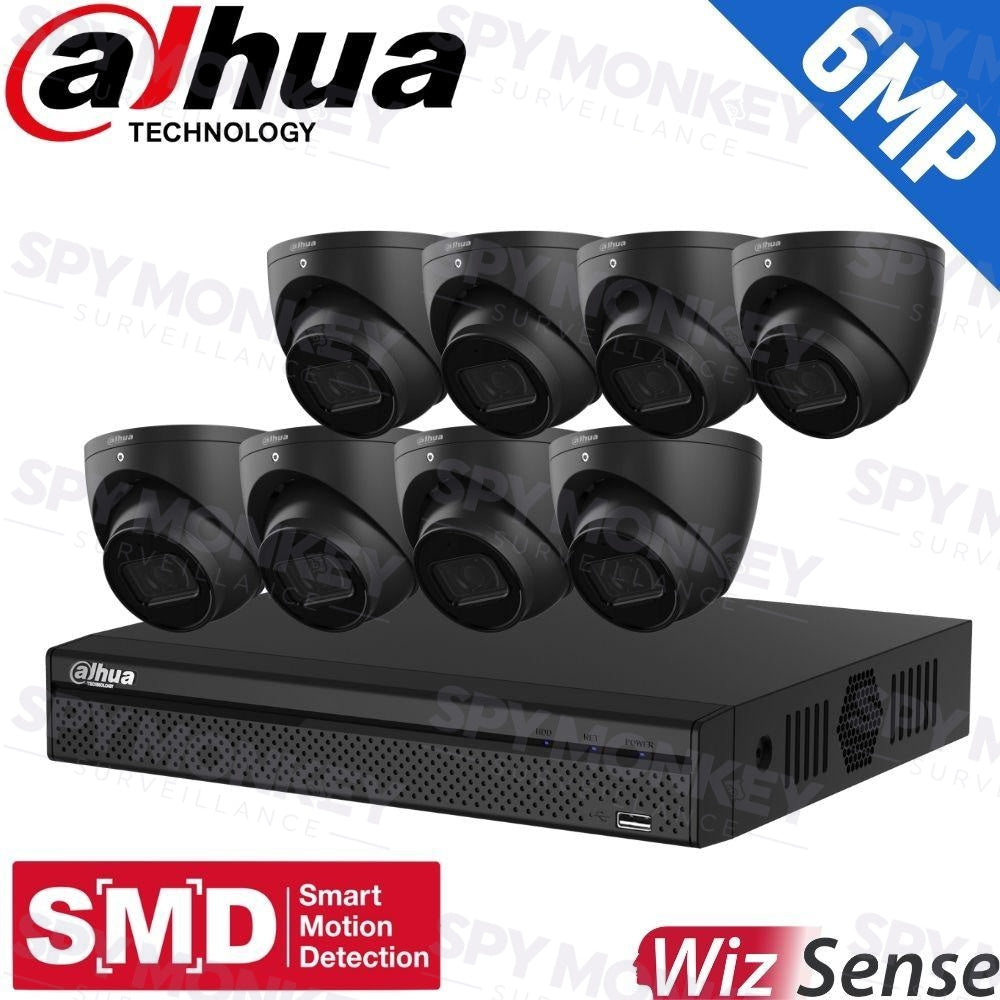 Dahua 8-Channel Security Kit: 8MP (Ultra HD) NVR, 8 X 6MP Fixed Turrets (Black), WizSense + Starlight