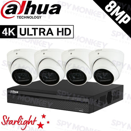 Dahua 4-Channel Security Kit: 8MP (Ultra HD) NVR, 4 x 8MP Fixed Turret, Lite + Starlight