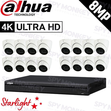 Dahua 16-Channel Security Kit: 8MP (Ultra HD) NVR, 16 x 8MP Fixed Turret, Lite + Starlight