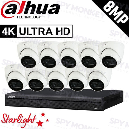 Dahua 16-Channel Security Kit: 8MP (Ultra HD) NVR, 10 x 8MP Fixed Turret, Lite + Starlight