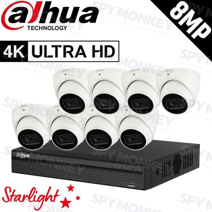 Dahua 8-Channel Security Kit: 8MP (Ultra HD) NVR, 8 x 8MP Fixed Turret, Lite + Starlight