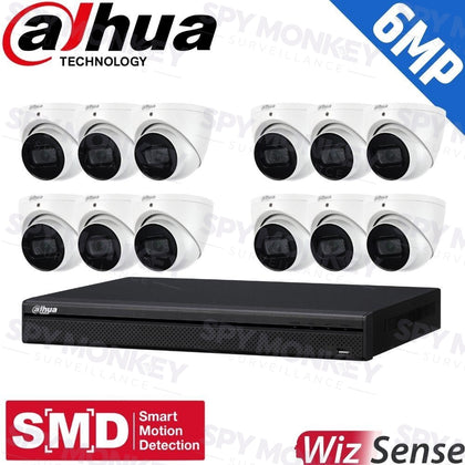 Dahua 16-Channel Security Kit: 8MP (Ultra HD) NVR, 12 X 6MP Fixed Turrets, WizSense + Starlight