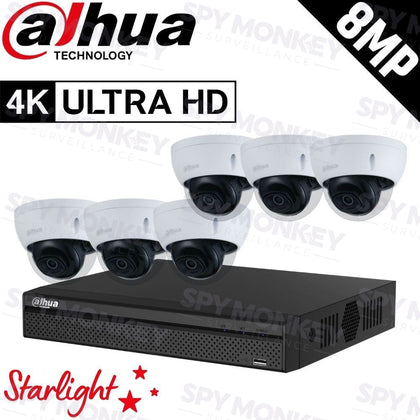 Dahua 8-Channel Security Kit: 8MP (Ultra HD) NVR, 6 x 8MP Fixed Dome, Lite + Starlight