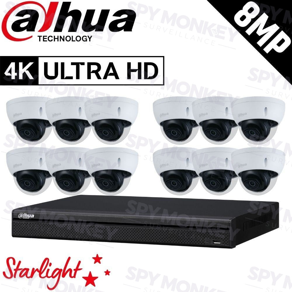 Dahua 16-Channel Security Kit: 8MP (Ultra HD) NVR, 12 x 8MP Fixed Dome, Lite + Starlight