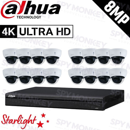 Dahua 16-Channel Security Kit: 8MP (Ultra HD) NVR, 16 x 8MP Fixed Dome, Lite + Starlight