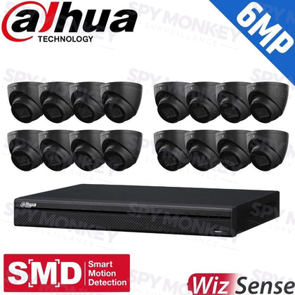Dahua 16-Channel Security Kit: 8MP (Ultra HD) NVR, 16 X 6MP Fixed Turrets (Black), WizSense + Starlight