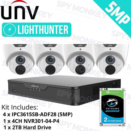 Uniview 4/8/16 Channel Security System: 4K NVR, 4 x 5MP LightHunter Turret Cameras, 2TB HDD