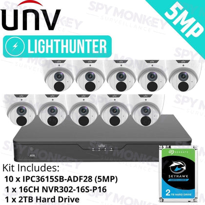 Uniview 16 Channel security System: 8MP NVR, 10 x 5MP LightHunter Turret Cameras, 2TB HDD