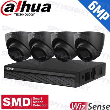 Dahua 4-Channel Security Kit: 8MP (Ultra HD) NVR, 4 X 6MP Fixed Turrets (Black), WizSense + Starlight