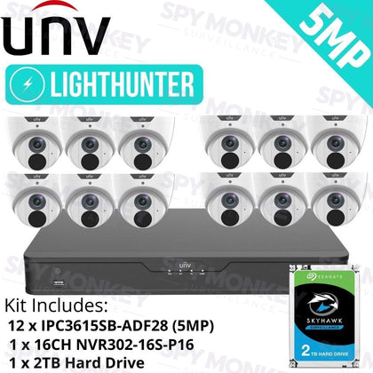 Uniview 16 Channel security System: 8MP NVR, 12 x 5MP LightHunter Turret Cameras, 2TB HDD