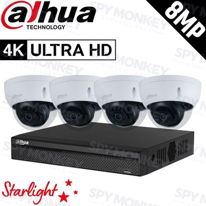 Dahua 4-Channel Security Kit: 8MP (Ultra HD) NVR, 4 x 8MP Fixed Dome, Lite + Starlight