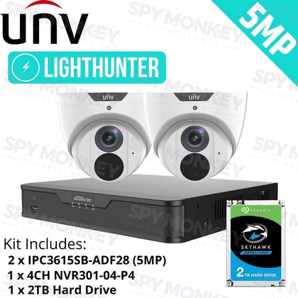Uniview 4 Channel Security System: 4K NVR, 2 x 5MP LightHunter Turret Cameras, 2TB HDD