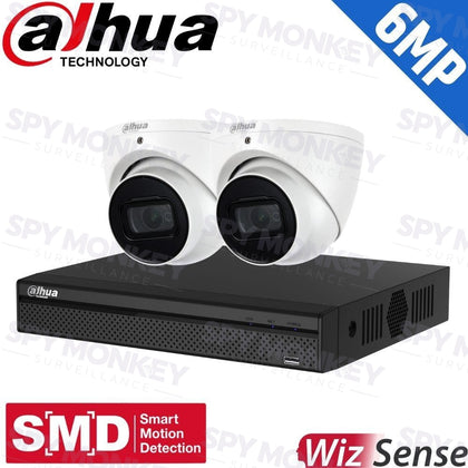 Dahua 4CH Security Kit: 8MP NVR, 2 X 6MP Turret Cams, WizSense AI