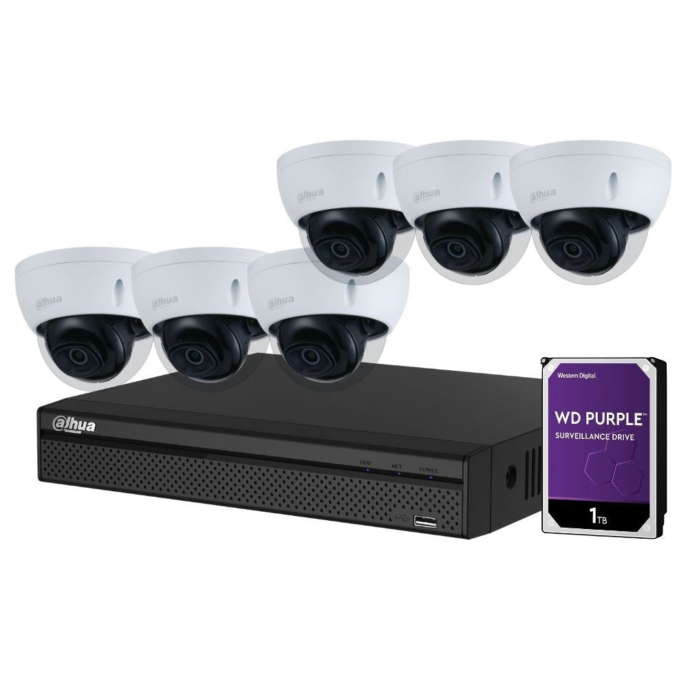 Dahua 8-Channel Security Kit: 8MP (Ultra HD) NVR, 6 x 5MP Fixed Dome, WizSense + Starlight