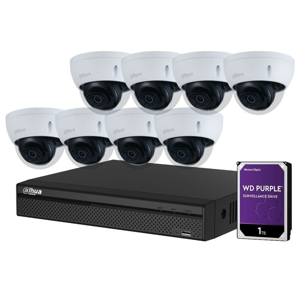 Dahua 8-Channel Security Kit: 8MP (Ultra HD) NVR, 8 X 5MP Fixed Dome, WizSense + Starlight
