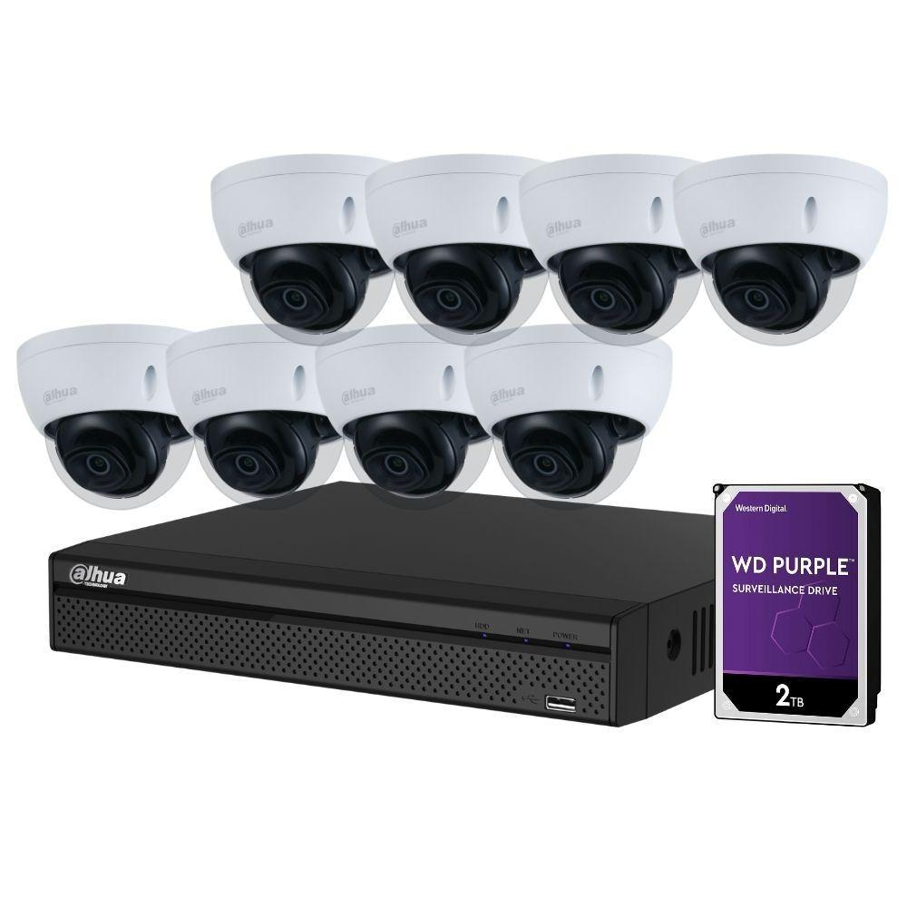 Dahua 8-Channel Security Kit: 8MP (Ultra HD) NVR, 8 x 8MP Fixed Dome, Lite + Starlight