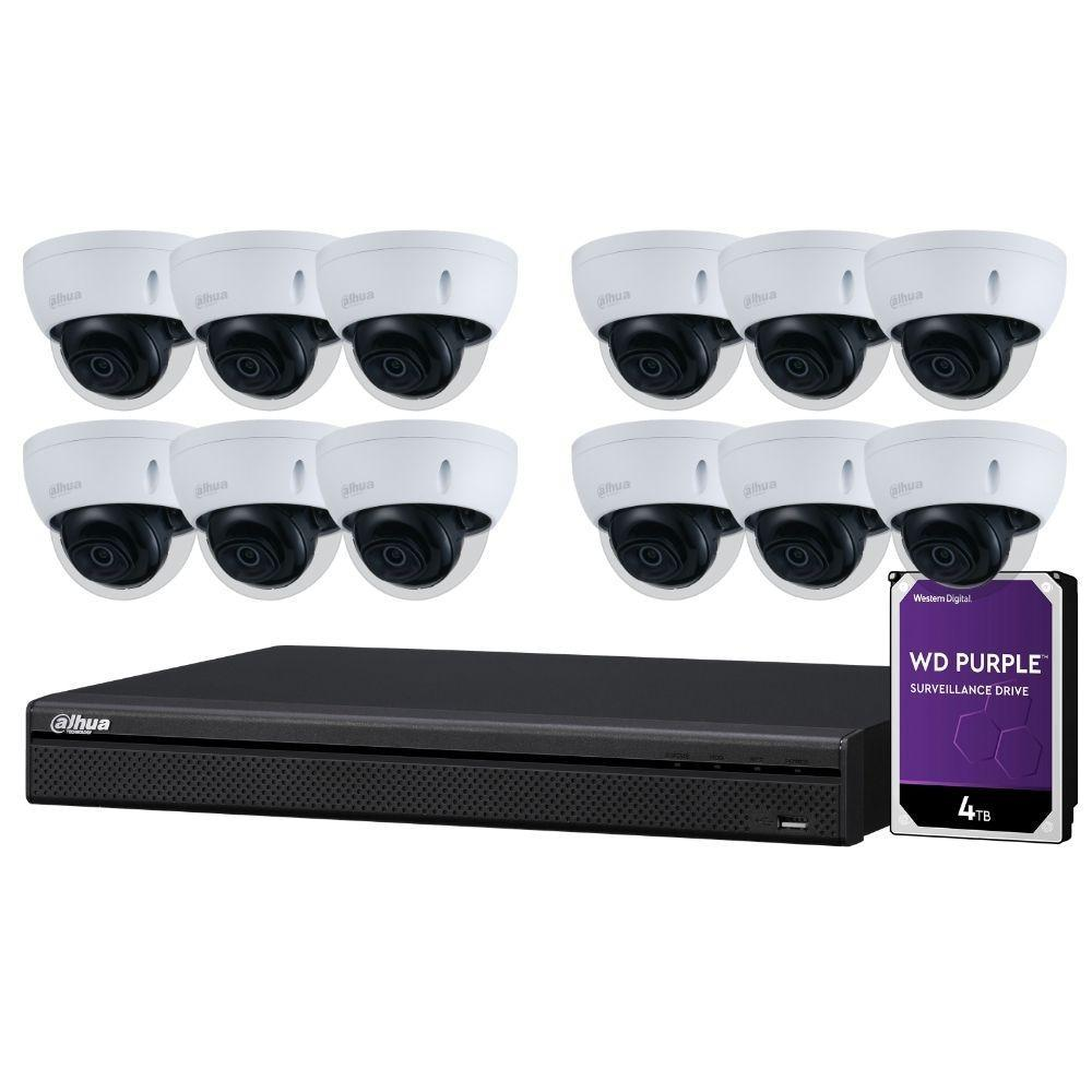 Dahua 16-Channel Security Kit: 8MP (Ultra HD) NVR, 12 X 5MP Fixed Dome, WizSense + Starlight