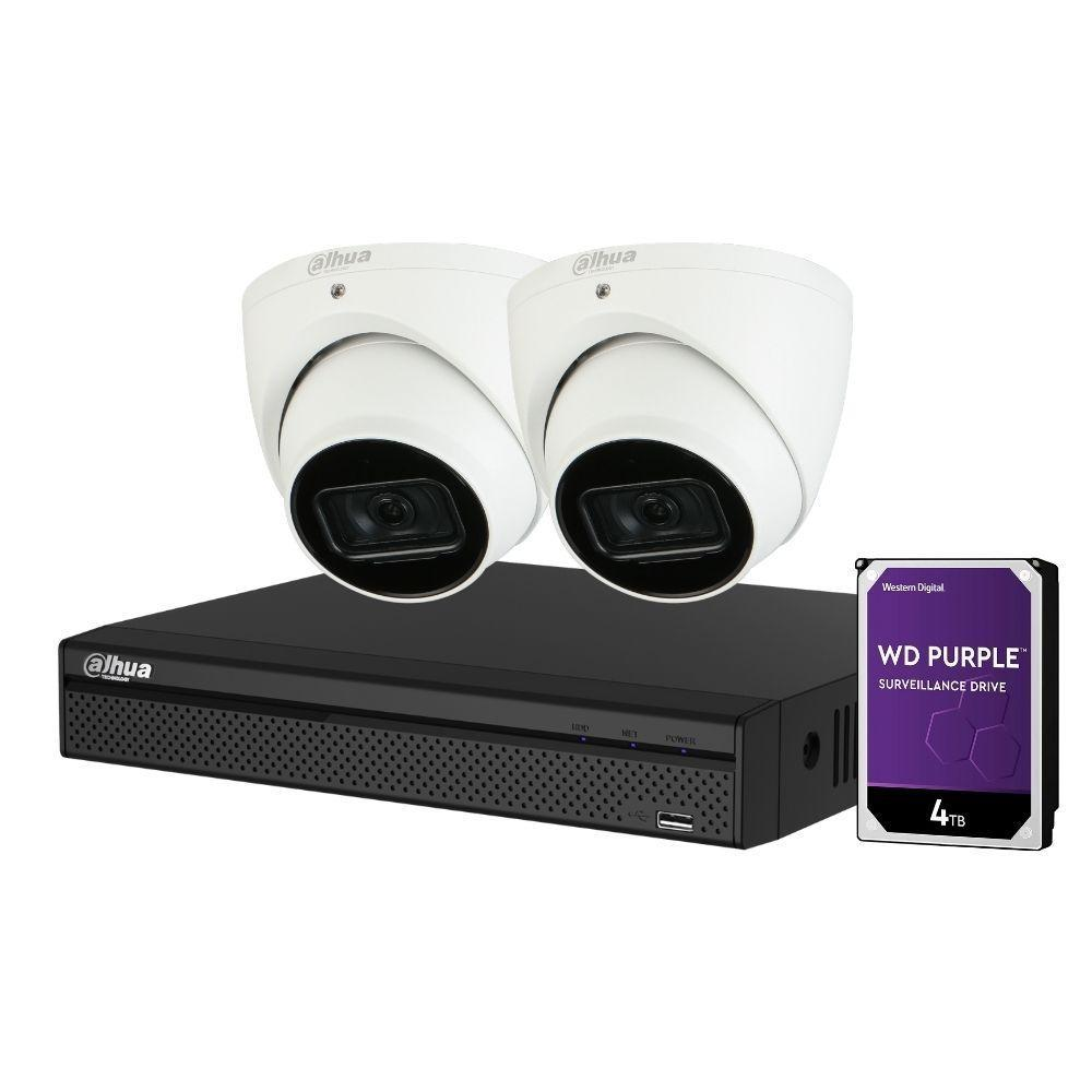 Dahua 4-Channel Security Kit: 8MP (Ultra HD) NVR, 2 x 8MP Fixed Turret, Lite + Starlight