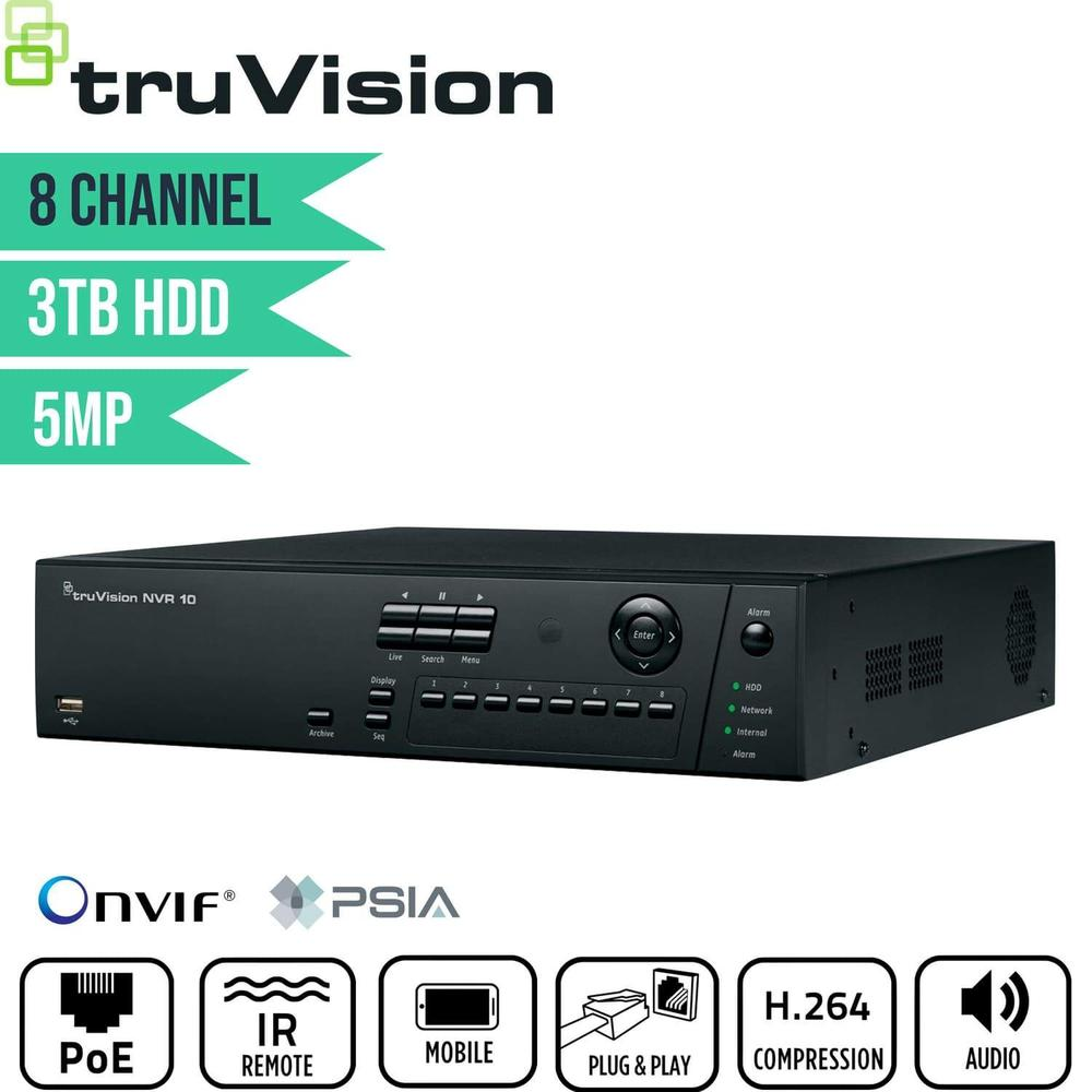 TruVision 8 Channel Network Video Recorder: 5MP FULL HD with 3TB HDD
