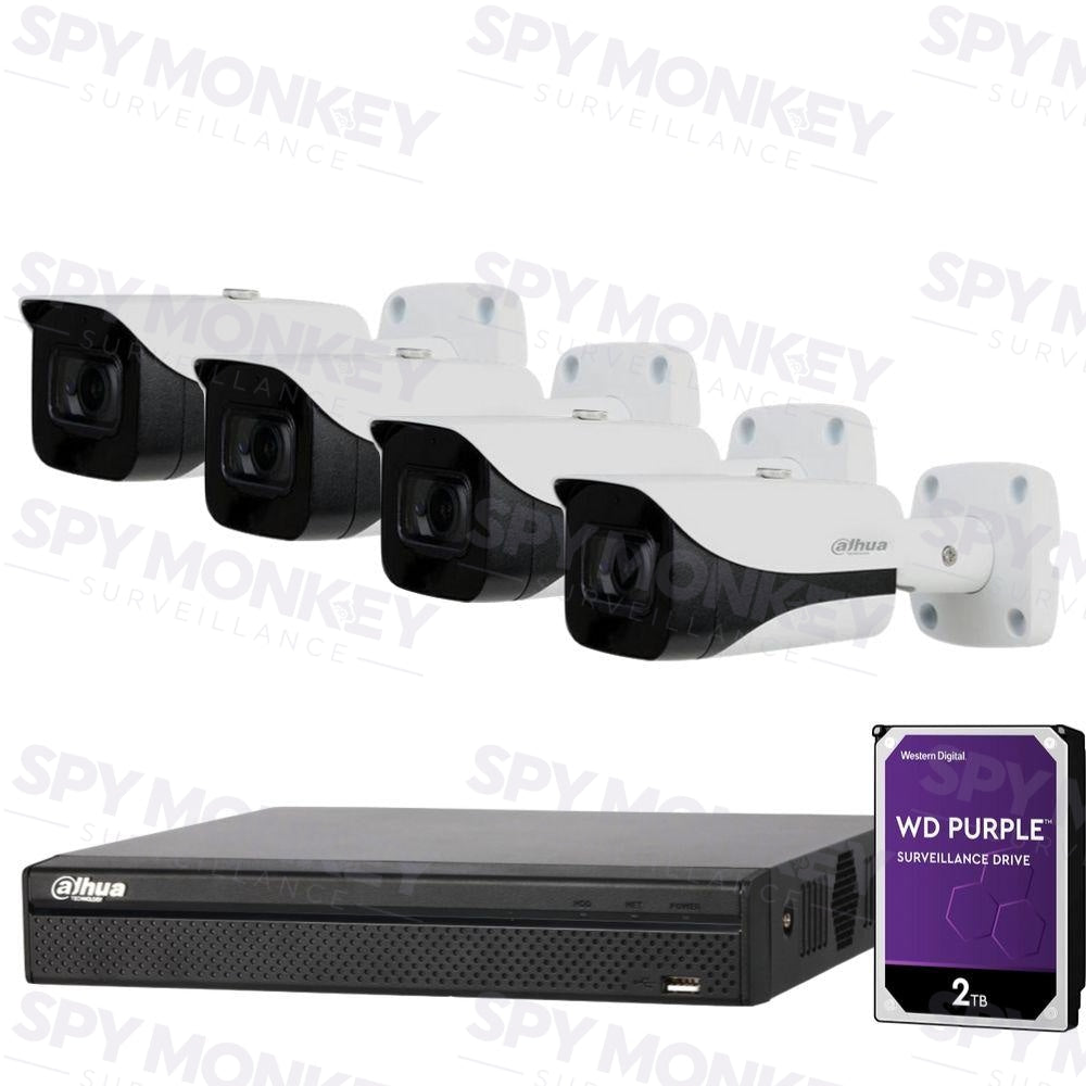 Dahua 4 Channel Security Kit: 8MP(4K Ultra HD) NVR, 4 X 6MP Bullet Cameras, 2TB HDD