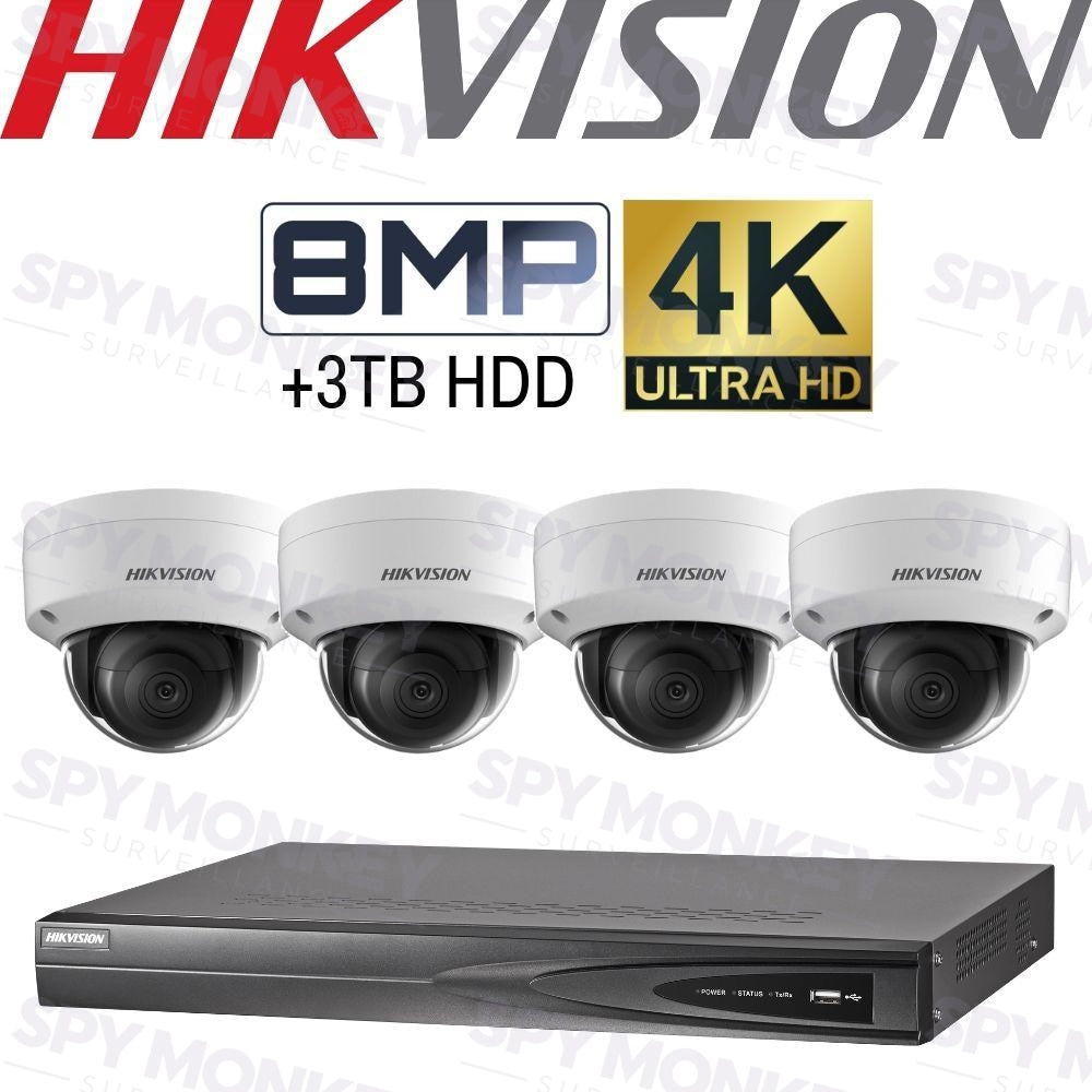 Hikvision 4 Channel Security Kit: 8MP (4K) NVR, 4 X 8MP Dome Cameras, 3TB HDD