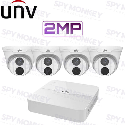 Copy of Uniview 4/8 Channel Security System: 2MP NVR, 4 x 2MP Turret Cams, 1TB HDD