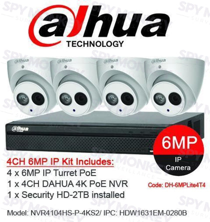 Dahua 4 Channel Security Kit: 8MP (4K Ultra HD) Lite Series, 4 X 6MP Turret Cameras, 2TB HDD