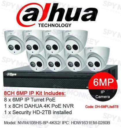Dahua 8 Channel Security Kit: 8MP (4K Ultra HD) Lite Series, 8 X 6MP Turret Cameras, 2TB HDD