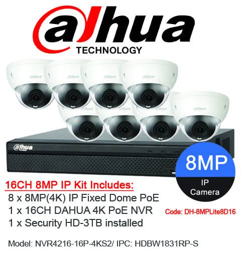 Dahua 16 Channel Security System: 8MP NVR, 8 x 8MP (4K) Dome Cameras, 3TB HDD