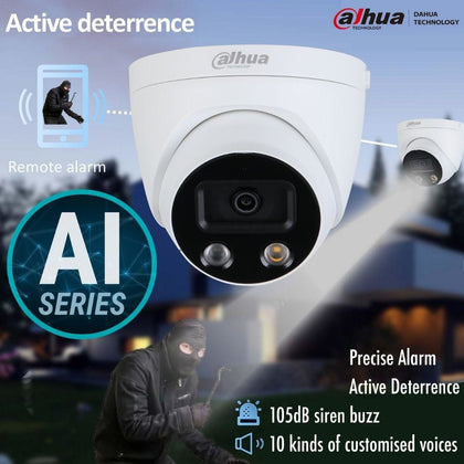 Dahua IPC-HDW5541H-AS-PV Security Camera: 5MP Fixed Turret, Active Deterrence, AI Series