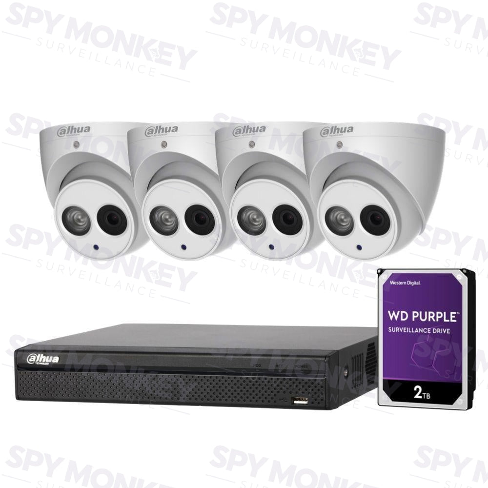 Dahua 4 Channel Security Kit: 8MP NVR, 4 X 6MP Turret Cameras (ASE Model), 2TB HDD
