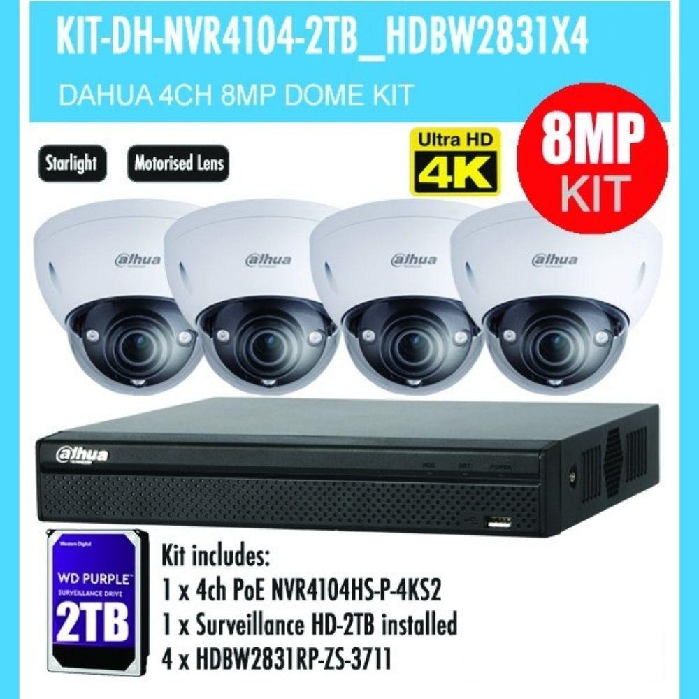 Dahua 4 Channel Security Kit: 8MP NVR, 4 X 8MP(4K) VF Dome Cameras, 2TB HDD