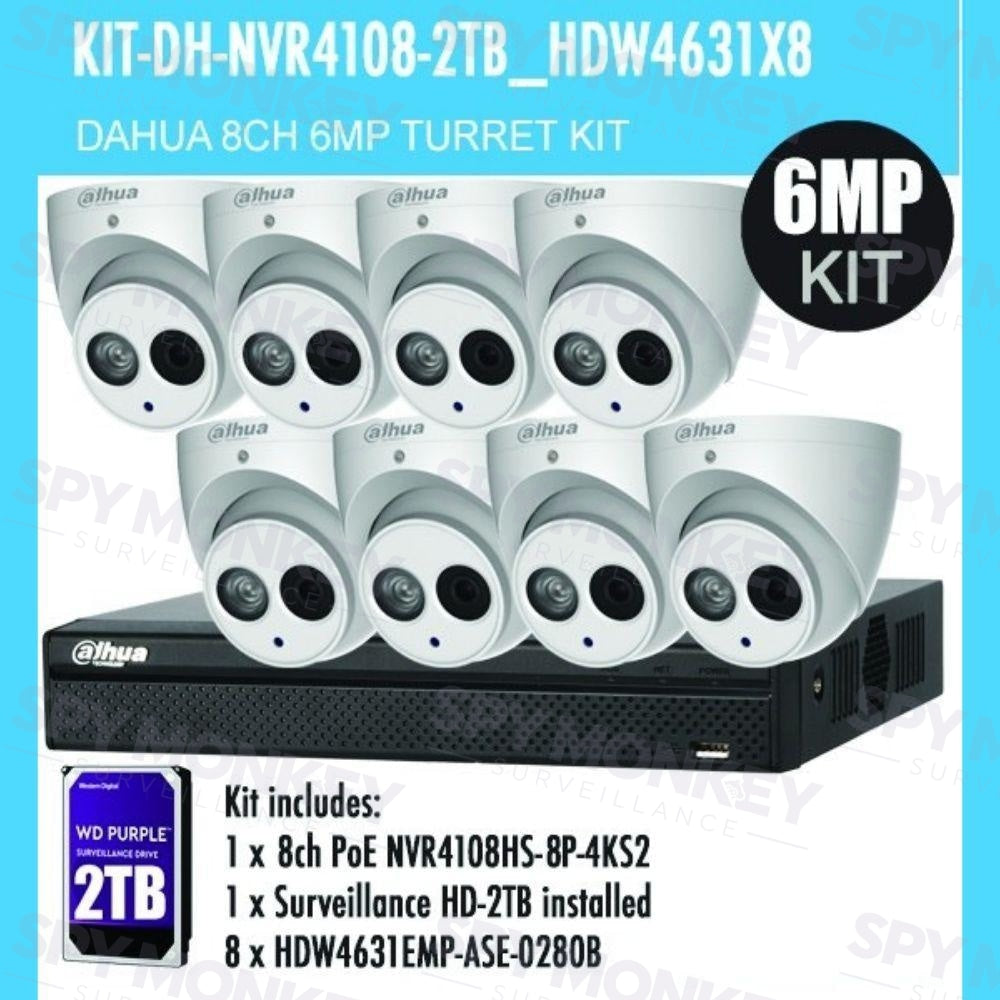 Dahua 8 Channel Security Kit: 8MP NVR, 8 X 6MP (ASE Model) Turret Cameras, 2TB HDD