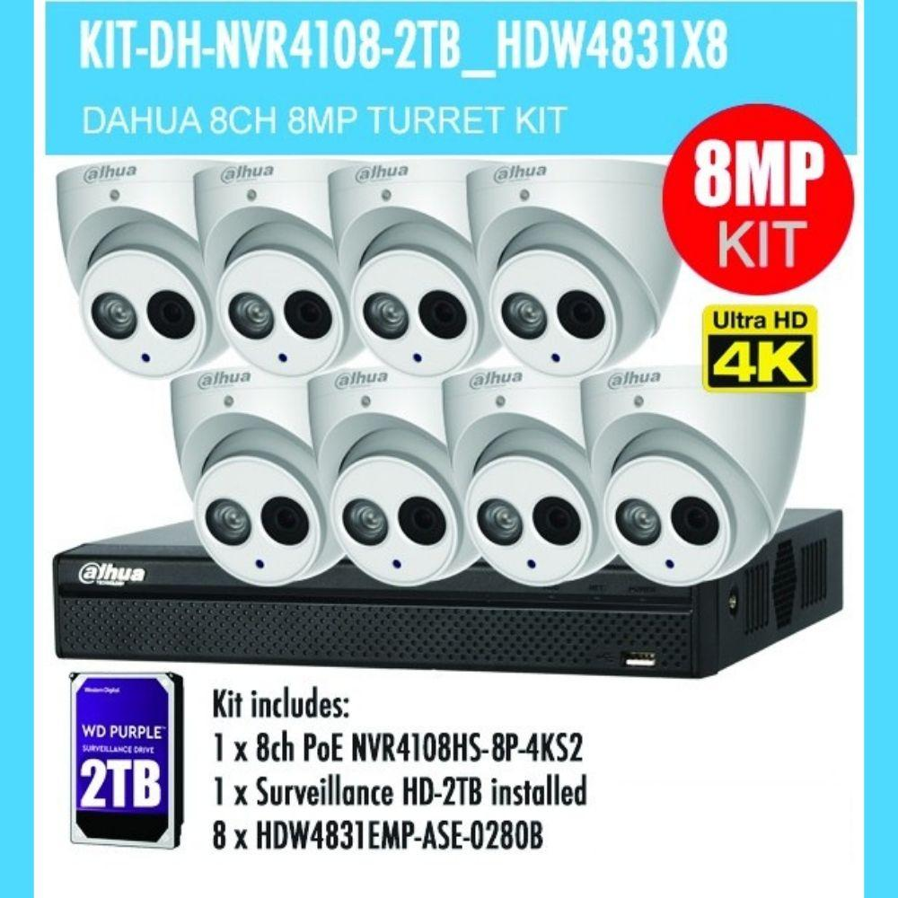 Dahua 8 Channel Security Kit: 8MP NVR, 8 X 8MP(4K Ultra HD) Turret Cameras, 2TB HDD
