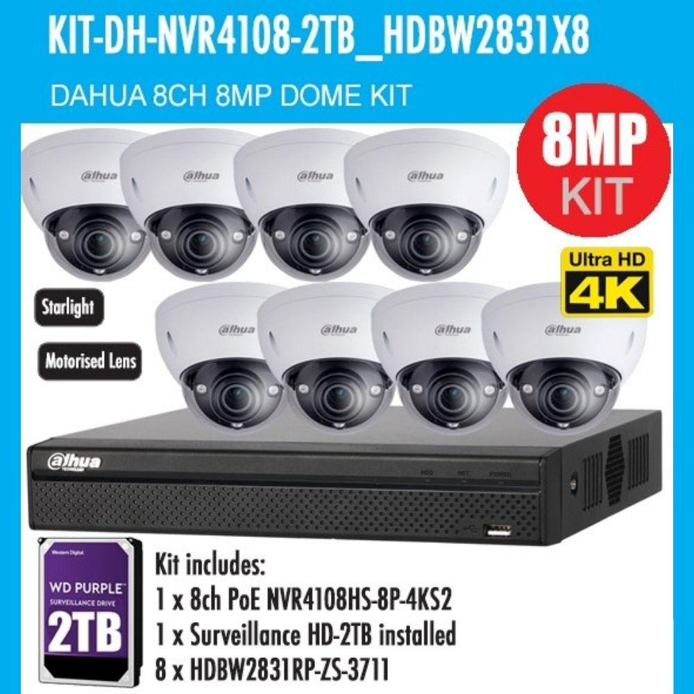 Dahua 8 Channel Security Kit: 8MP NVR, 8 X 8MP(4K Ultra HD) VF Dome Cameras, 2TB HDD