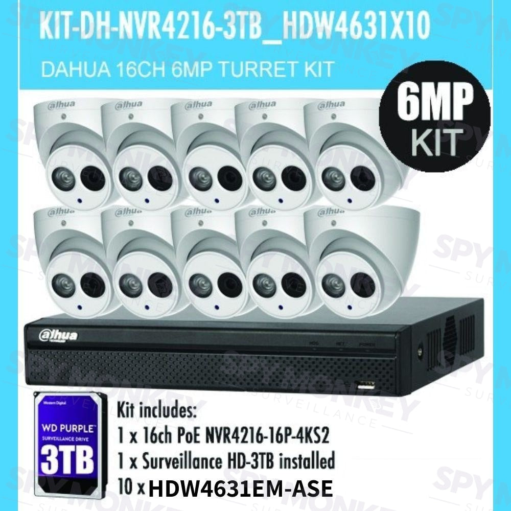 Dahua 16 Channel Security Kit: 8MP NVR, 10 X 6MP Turret Cameras (ASE Model), 3TB HDD