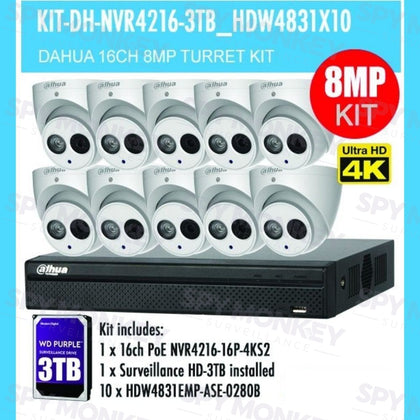 Dahua 16 Channel Security Kit: 8MP NVR, 10 X 8MP(4K Ultra HD) Turret Cameras, 3TB HDD