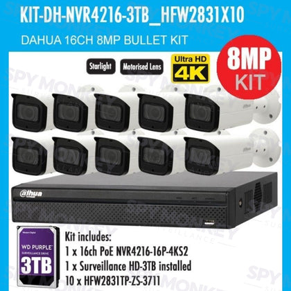 Dahua 16 Channel Security Kit: 8MP NVR, 10 X 8MP(4K Ultra HD) VF Bullet Cameras, 3TB HDD