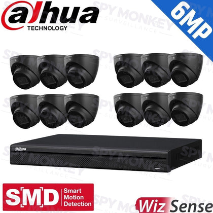 Dahua 16-Channel Security Kit: 8MP (Ultra HD) NVR, 12 X 6MP Fixed Turrets (Black), WizSense + Starlight