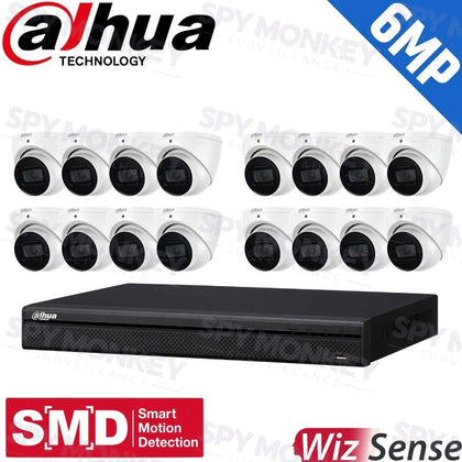 Dahua 16-Channel Security Kit: 8MP (Ultra HD) NVR, 16 X 6MP Fixed Turrets, WizSense + Starlight