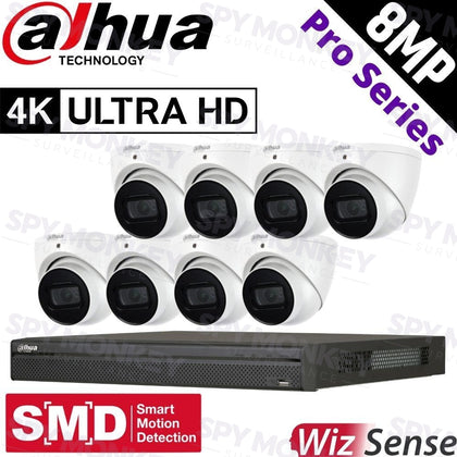 Dahua 8-Channel Security Kit: 12MP Pro Series NVR, 8 X 8MP Turret, WizSense + Starlight