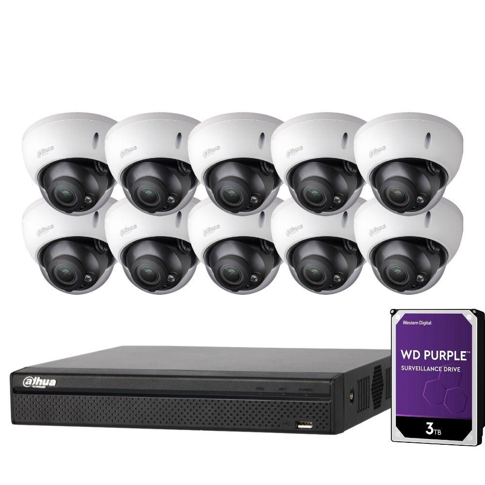 Dahua 16 Channel Security Kit: 8MP NVR, 10 X 8MP(4K) VF Dome Cameras, 3TB HDD