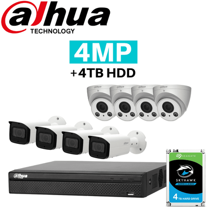Dahua 16 Channel Security System: 8MP NVR, 4 x 4MP VF Bullet & 4 x 4MP VF Eyeball Cams, 4TB HDD
