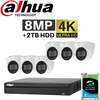 Dahua 8 Channel Security System: 12MP Pro NVR, 6 x 8MP VF Eyeball Cams, 2TB HDD